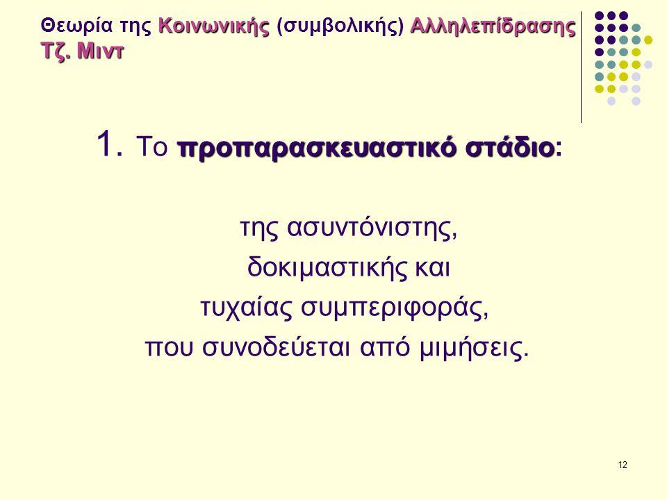 12 Κοινωνικής Αλληλεπίδρασης Τζ. Μιντ Θεωρία της Κοινωνικής (συμβολικής) Αλληλεπίδρασης Τζ. Μιντ προπαρασκευαστικόστάδιο 1. Το προπαρασκευαστικό στάδι