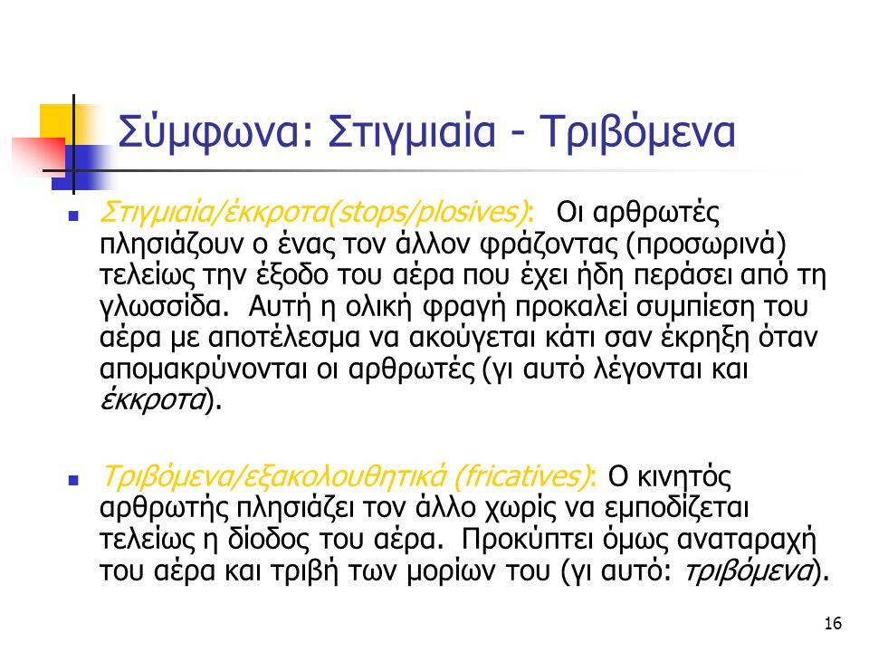 16 Σύμφωνα: Στιγμιαία - Τριβόμενα Στιγμιαία/έκκροτα(stops/plosives): Οι αρθρωτές πλησιάζουν ο ένας τον άλλον φράζοντας (προσωρινά) τελείως την έξοδο τ