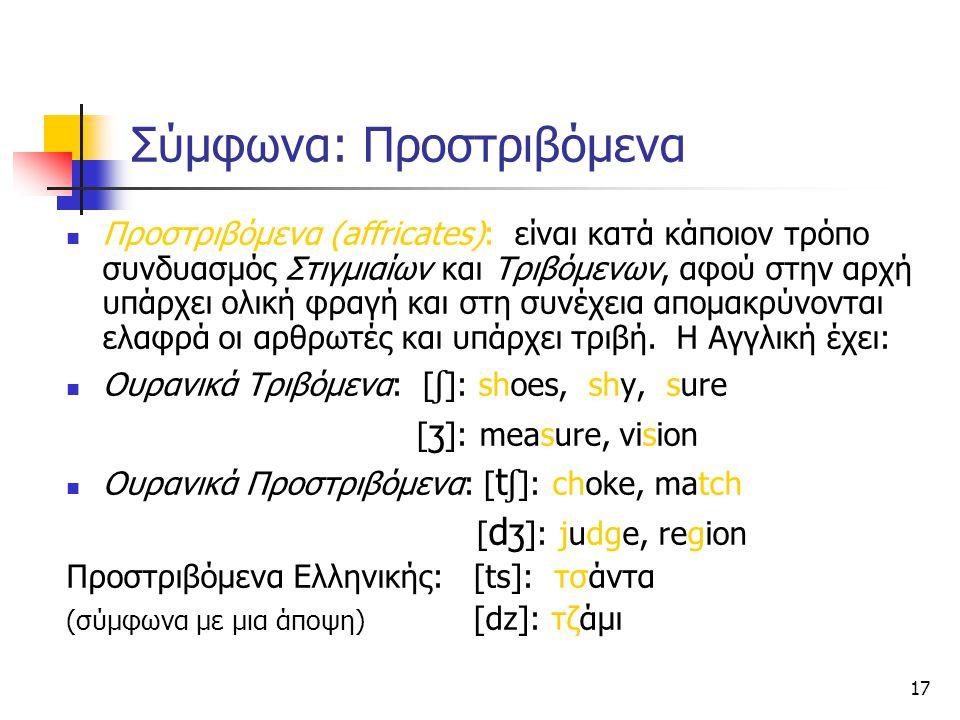 17 Σύμφωνα: Προστριβόμενα Προστριβόμενα (affricates): είναι κατά κάποιον τρόπο συνδυασμός Στιγμιαίων και Τριβόμενων, αφού στην αρχή υπάρχει ολική φραγ