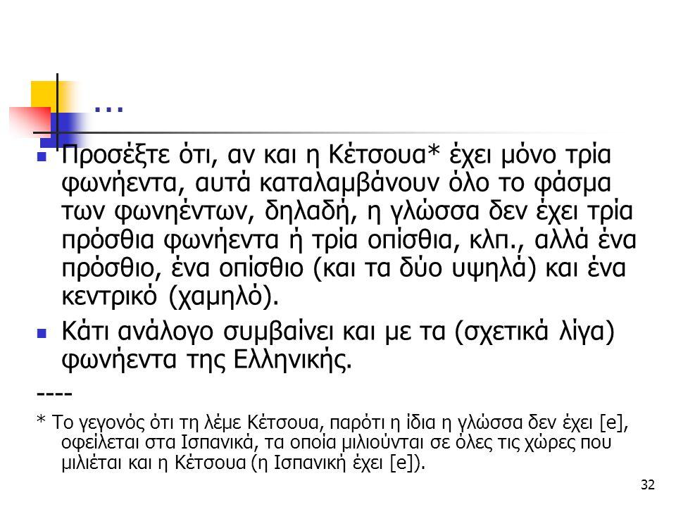 32 … Προσέξτε ότι, αν και η Κέτσουα* έχει μόνο τρία φωνήεντα, αυτά καταλαμβάνουν όλο το φάσμα των φωνηέντων, δηλαδή, η γλώσσα δεν έχει τρία πρόσθια φω