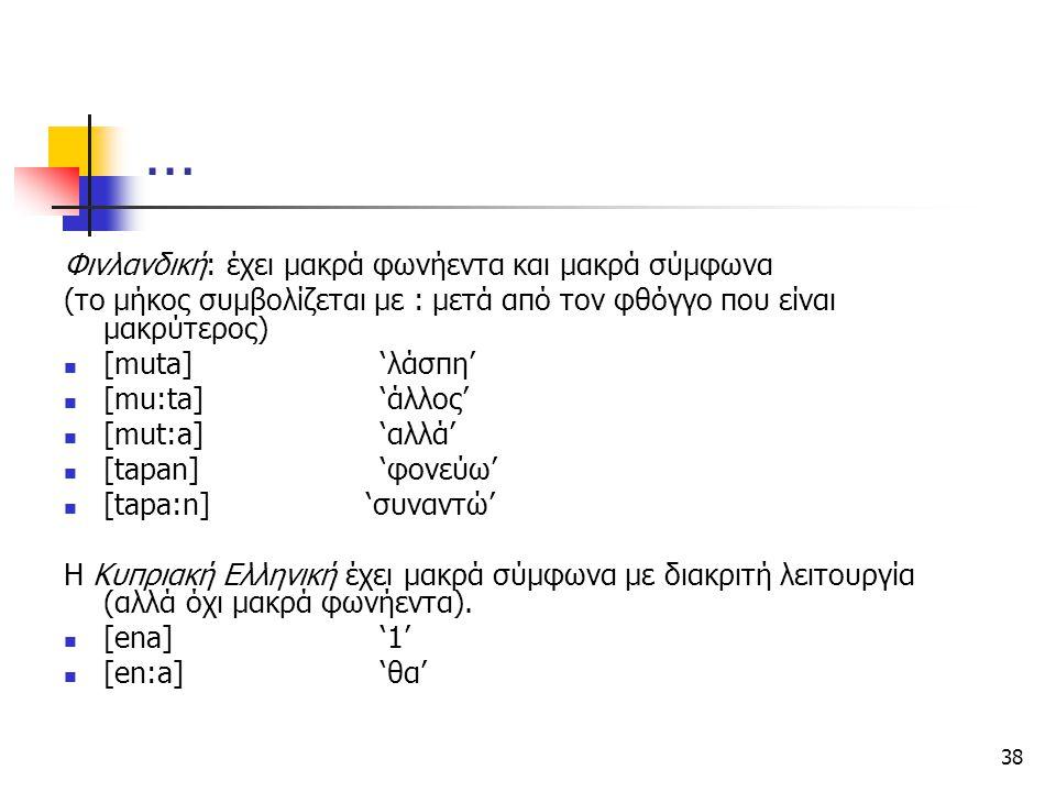 38 … Φινλανδική: έχει μακρά φωνήεντα και μακρά σύμφωνα (το μήκος συμβολίζεται με : μετά από τον φθόγγο που είναι μακρύτερος) [muta]'λάσπη' [mu:ta]'άλλ