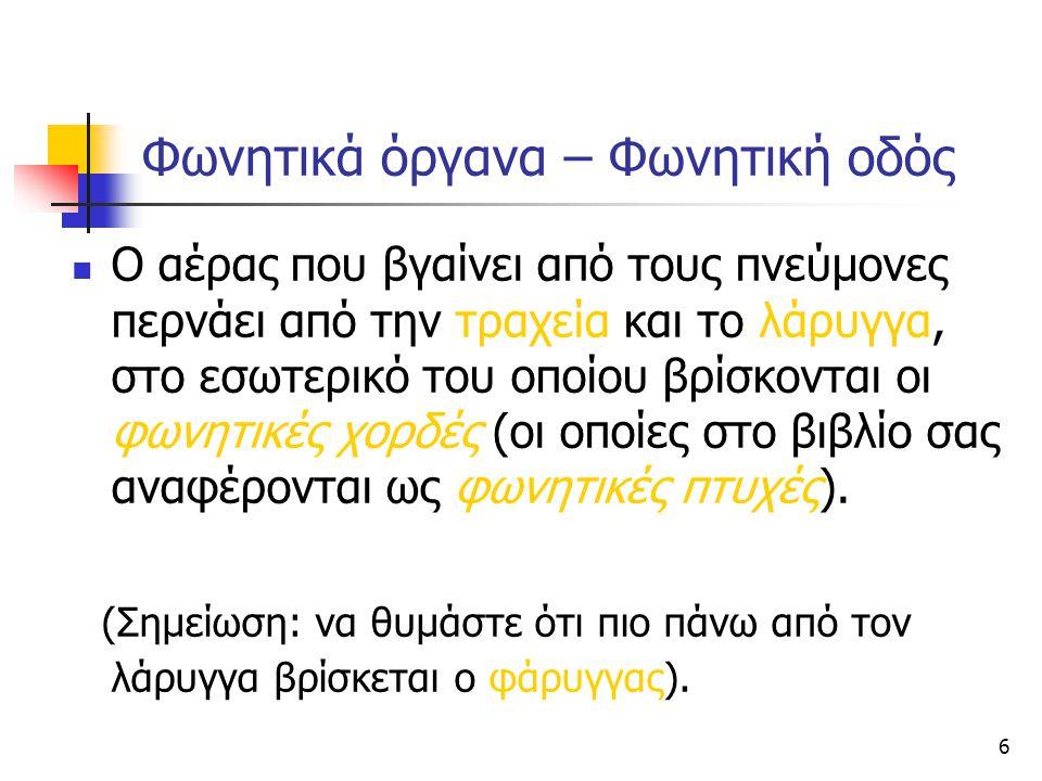 17 Σύμφωνα: Προστριβόμενα Προστριβόμενα (affricates): είναι κατά κάποιον τρόπο συνδυασμός Στιγμιαίων και Τριβόμενων, αφού στην αρχή υπάρχει ολική φραγή και στη συνέχεια απομακρύνονται ελαφρά οι αρθρωτές και υπάρχει τριβή.