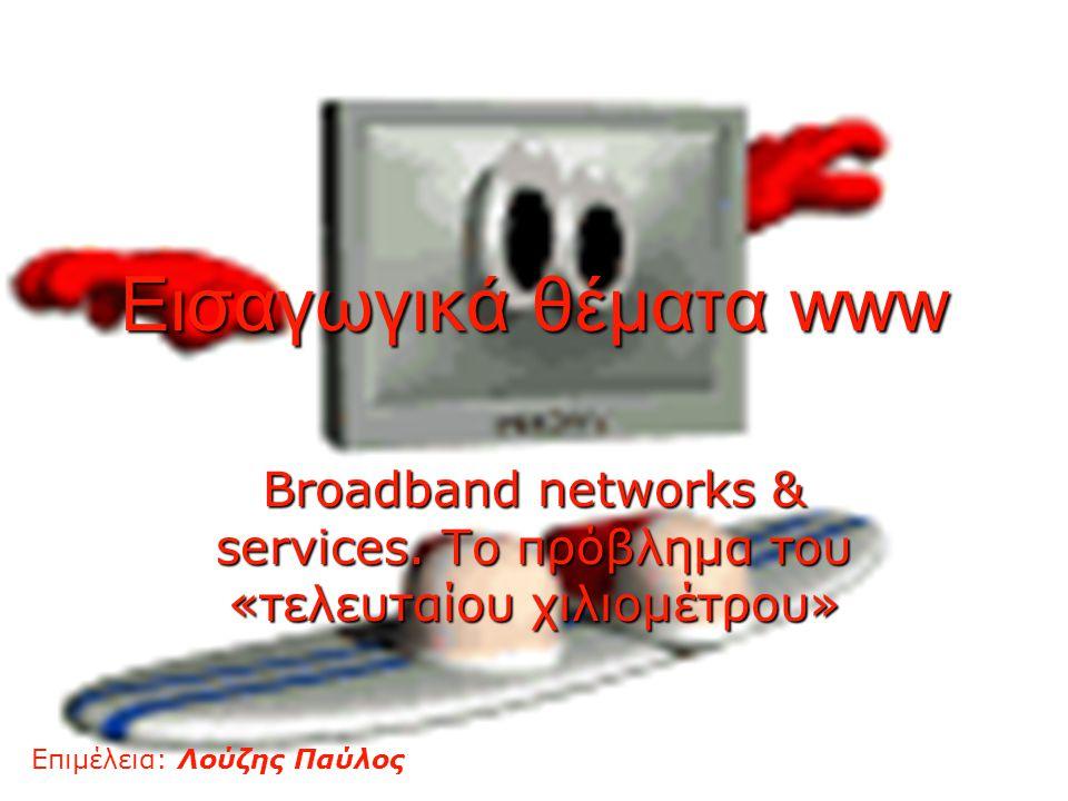 1 Εισαγωγικά θέματα www Broadband networks & services. Το πρόβλημα του «τελευταίου χιλιομέτρου» Επιμέλεια: Λούζης Παύλος