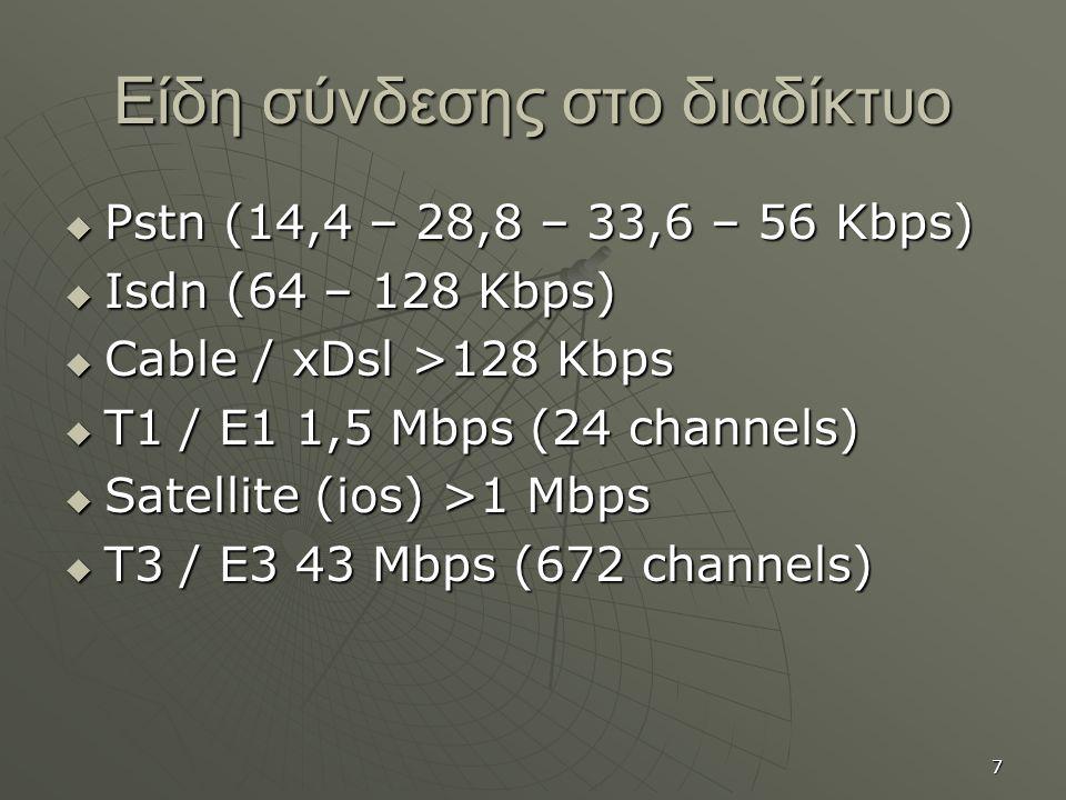 7 Είδη σύνδεσης στο διαδίκτυο  Pstn (14,4 – 28,8 – 33,6 – 56 Kbps)  Isdn (64 – 128 Kbps)  Cable / xDsl >128 Kbps  T1 / E1 1,5 Mbps (24 channels)  Satellite (ios) >1 Mbps  T3 / E3 43 Mbps (672 channels)