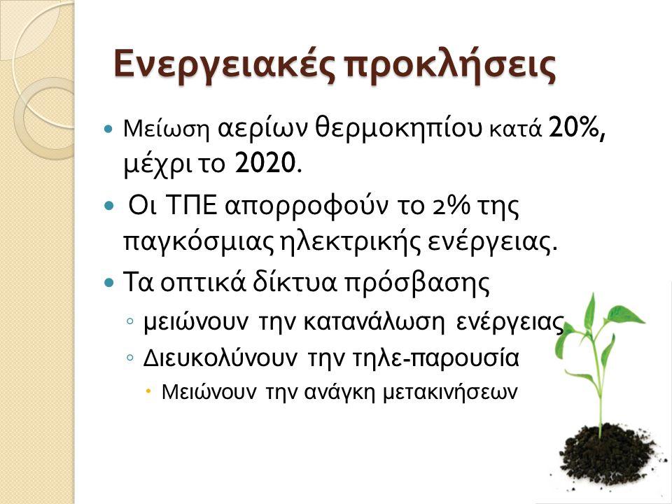 Ενεργειακές προκλήσεις Μείωση αερίων θερμοκηπίου κατά 20%, μέχρι το 2020.