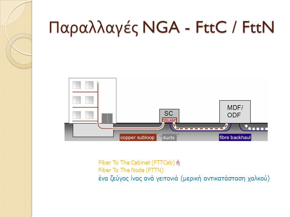 Παραλλαγές NGA - FttC / FttN Fiber To The Cabinet (FTTCab) ή Fiber To The Node (FTTN) ένα ζεύγος ίνας ανά γειτονιά (μερική αντικατάσταση χαλκού)