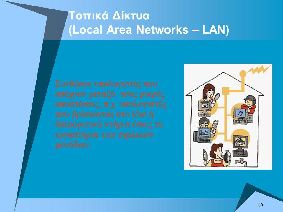 10 Τοπικά Δίκτυα (Local Area Networks – LAN) Συνδέουν υπολογιστές που απέχουν μεταξύ τους μικρές αποστάσεις, π.χ.
