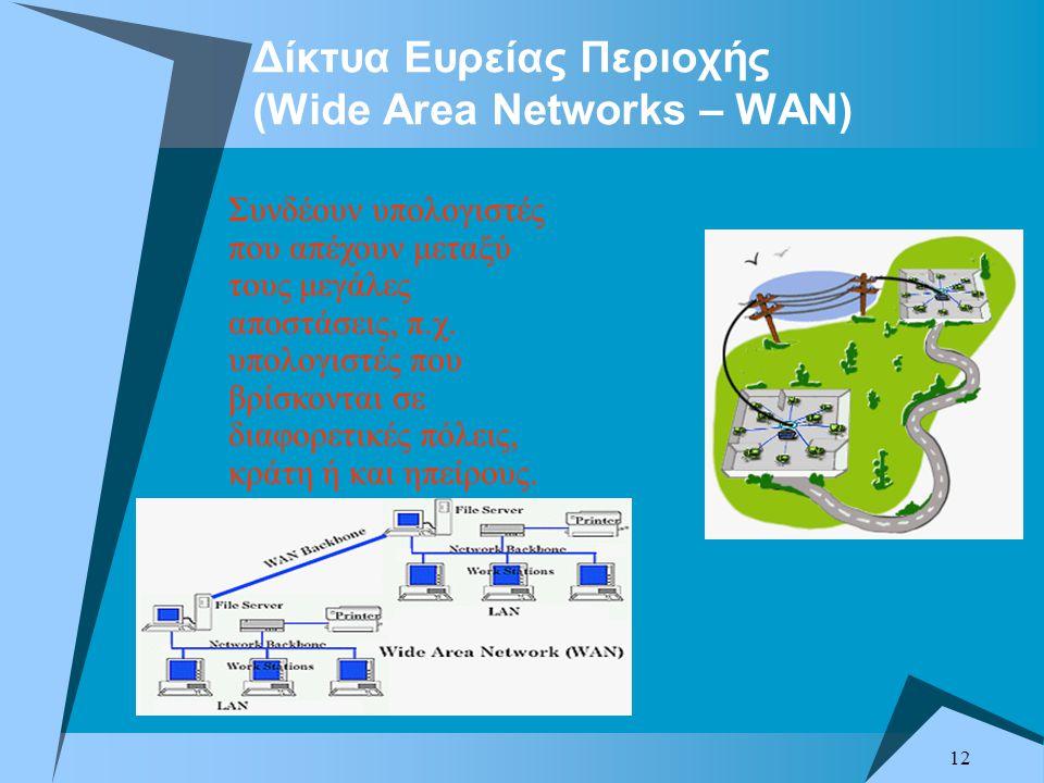 12 Δίκτυα Ευρείας Περιοχής (Wide Area Networks – WAN) Συνδέουν υπολογιστές που απέχουν μεταξύ τους μεγάλες αποστάσεις, π.χ.