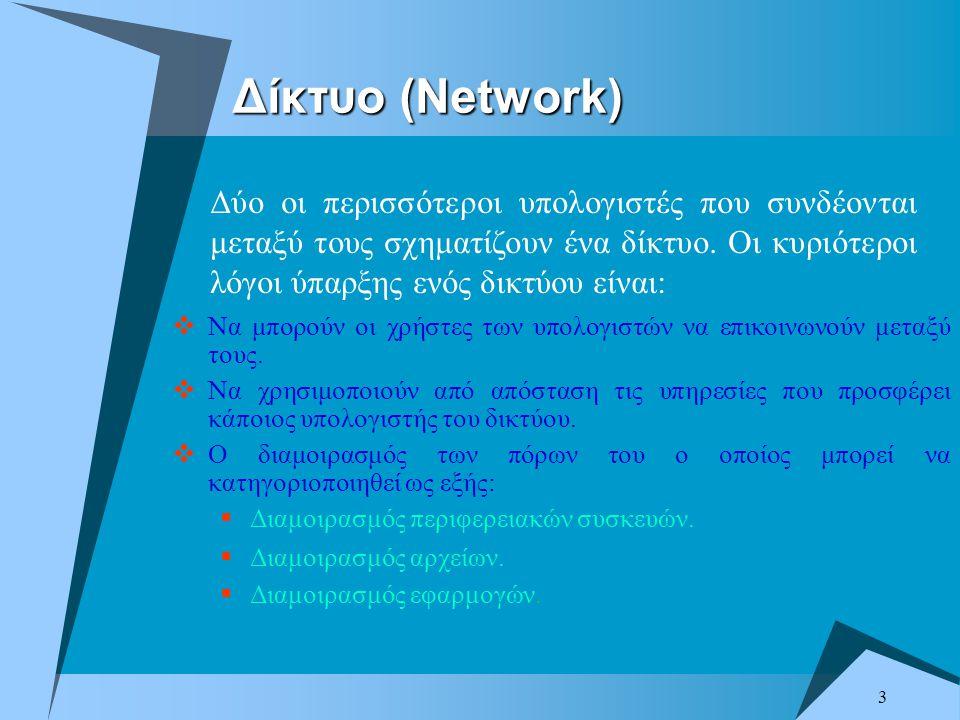 4 Δομικά Στοιχεία Δικτύου  Κόμβοι Επικοινωνίας. Φυσικό Μέσο Μεταφοράς ή ο Σύνδεσμος.