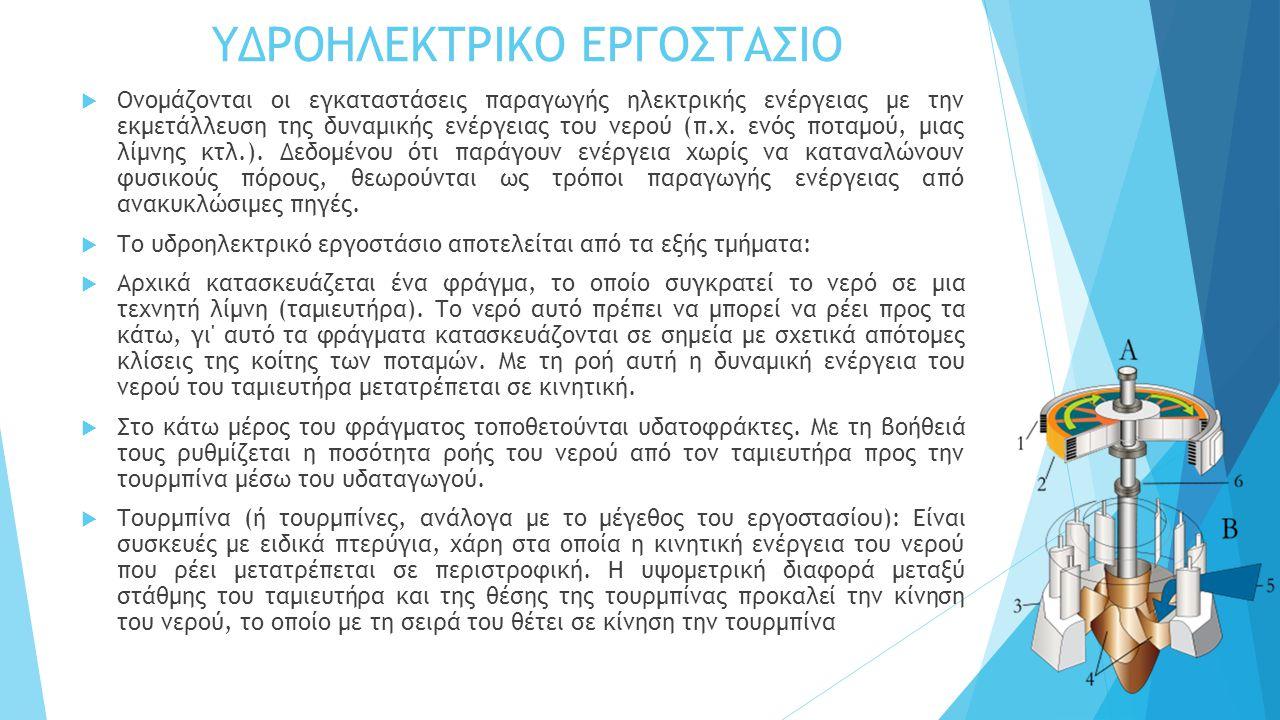 ΥΔΡΟΗΛΕΚΤΡΙΚΟ ΕΡΓΟΣΤΑΣΙΟ  Ονομάζονται οι εγκαταστάσεις παραγωγής ηλεκτρικής ενέργειας με την εκμετάλλευση της δυναμικής ενέργειας του νερού (π.χ. ενό