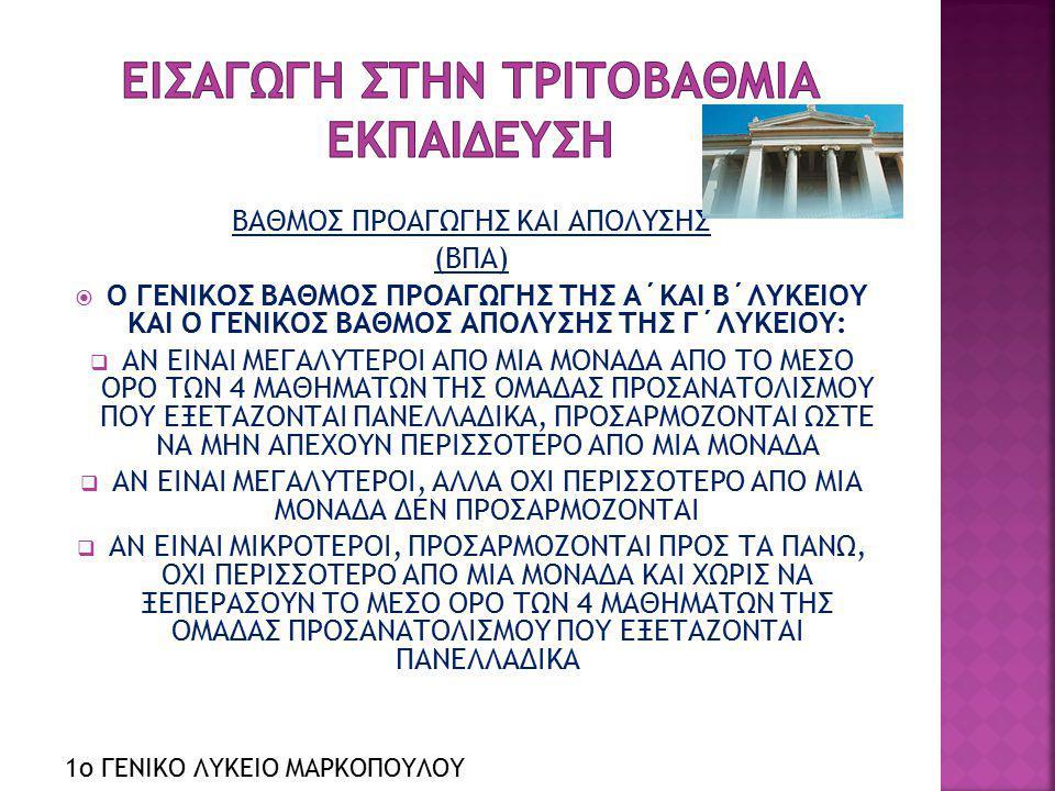 ΒΑΘΜΟΣ ΠΡΟΑΓΩΓΗΣ ΚΑΙ ΑΠΟΛΥΣΗΣ (ΒΠΑ)  Ο ΓΕΝΙΚΟΣ ΒΑΘΜΟΣ ΠΡΟΑΓΩΓΗΣ ΤΗΣ Α΄ΚΑΙ Β΄ΛΥΚΕΙΟΥ ΚΑΙ Ο ΓΕΝΙΚΟΣ ΒΑΘΜΟΣ ΑΠΟΛΥΣΗΣ ΤΗΣ Γ΄ΛΥΚΕΙΟΥ:  ΑΝ ΕΙΝΑΙ ΜΕΓΑΛΥΤΕΡ