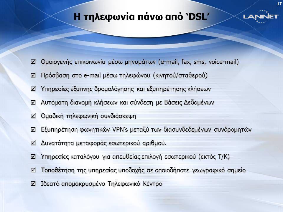 16 Γιατί Τηλεφωνία πάνω από 'DSL' ;  Οι πελάτες μας επιθυμούν την πρακτική και άμεση αξιοποίηση των νέων τεχνολογικών δυνατοτήτων στην επικοινωνία, για την καλύτερη και οικονομικώτερη εξυπηρέτησή τους...
