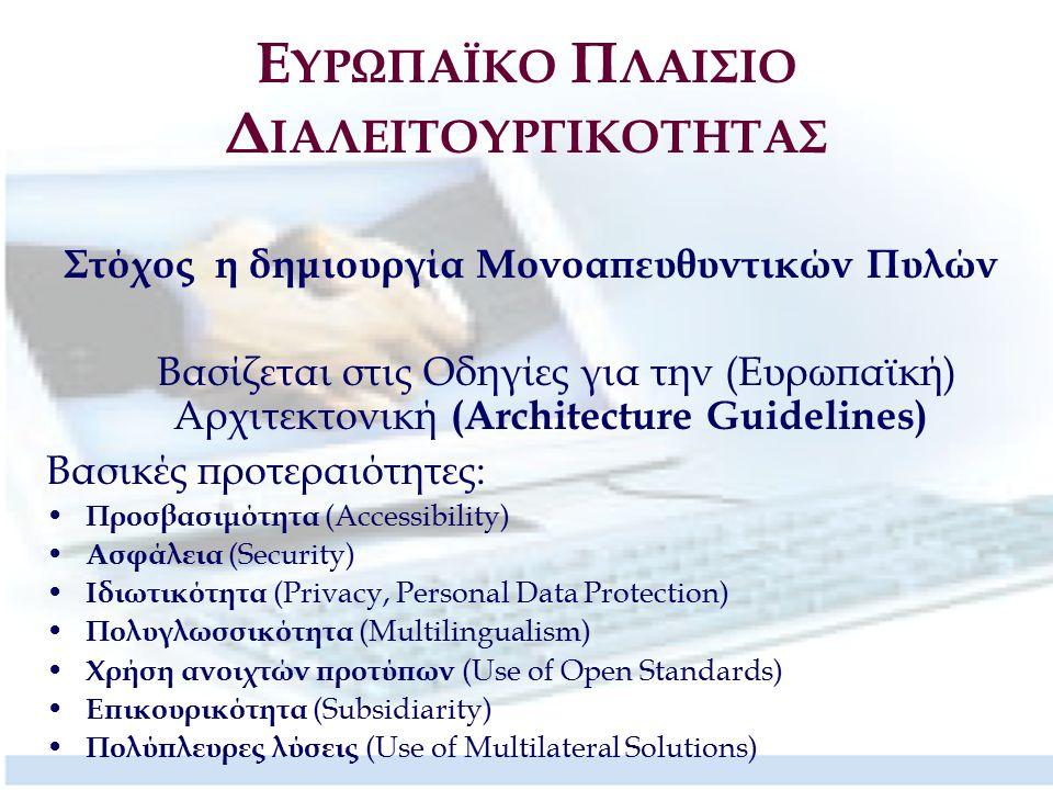 Στόχος η δημιουργία Μονοαπευθυντικών Πυλών Βασίζεται στις Οδηγίες για την (Ευρωπαϊκή) Αρχιτεκτονική (Architecture Guidelines) Βασικές προτεραιότητες: Προσβασιμότητα (Accessibility) Ασφάλεια (Security) Ιδιωτικότητα (Privacy, Personal Data Protection) Πολυγλωσσικότητα (Multilingualism) Χρήση ανοιχτών προτύπων (Use of Open Standards) Επικουρικότητα (Subsidiarity) Πολύπλευρες λύσεις (Use of Multilateral Solutions)