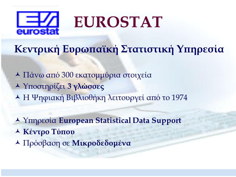 EUROSTAT Κεντρική Ευρωπαϊκή Στατιστική Υπηρεσία Πάνω από 300 εκατομμύρια στοιχεία Υποστηρίζει 3 γλώσσες Η Ψηφιακή Βιβλιοθήκη λειτουργεί από το 1974 Υπηρεσία European Statistical Data Support Κέντρο Τύπου Πρόσβαση σε Μικροδεδομένα
