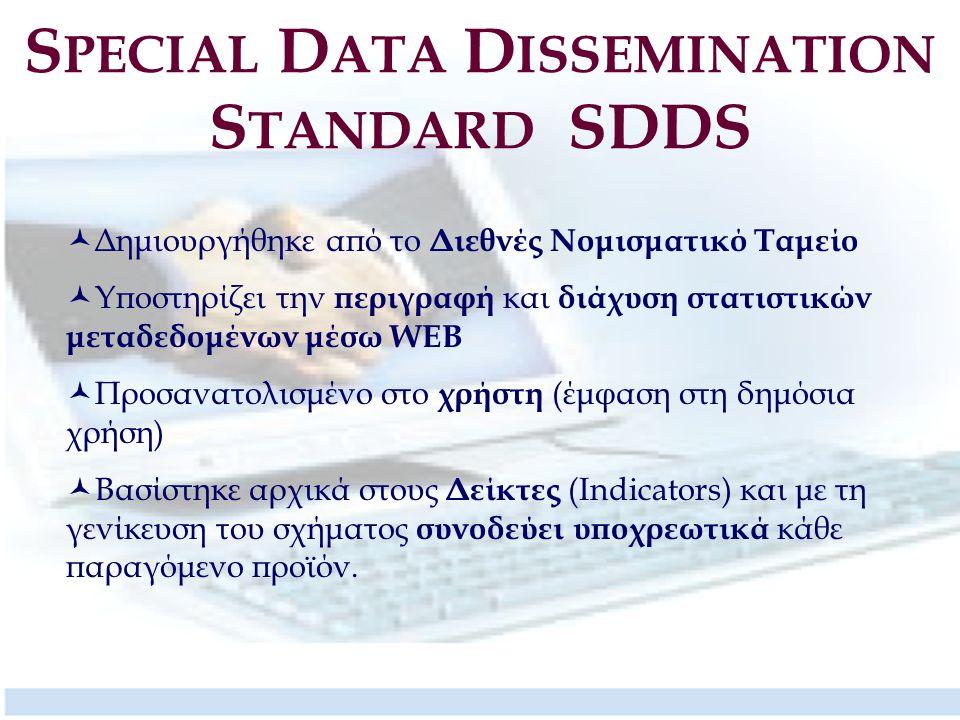 S PECIAL D ATA D ISSEMINATION S TANDARD SDDS Δημιουργήθηκε από το Διεθνές Νομισματικό Ταμείο Υποστηρίζει την περιγραφή και διάχυση στατιστικών μεταδεδ