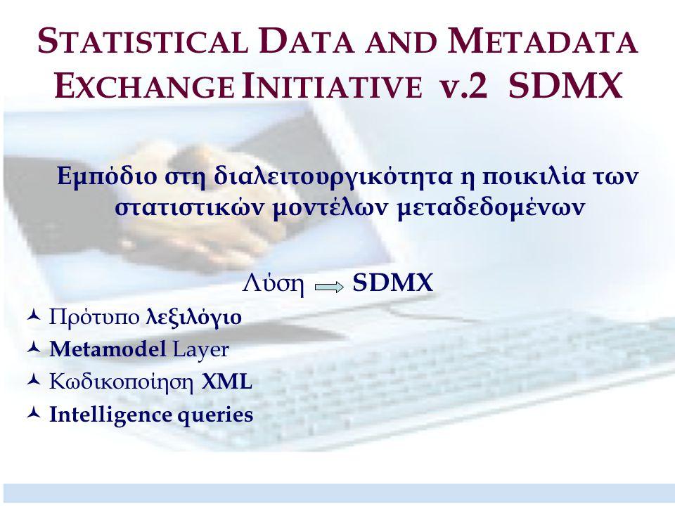 S TATISTICAL D ATA AND M ETADATA E XCHANGE I NITIATIVE v.2 SDMX Εμπόδιο στη διαλειτουργικότητα η ποικιλία των στατιστικών μοντέλων μεταδεδομένων Λύση SDMX Πρότυπο λεξιλόγιο Metamodel Layer Κωδικοποίηση XML Intelligence queries