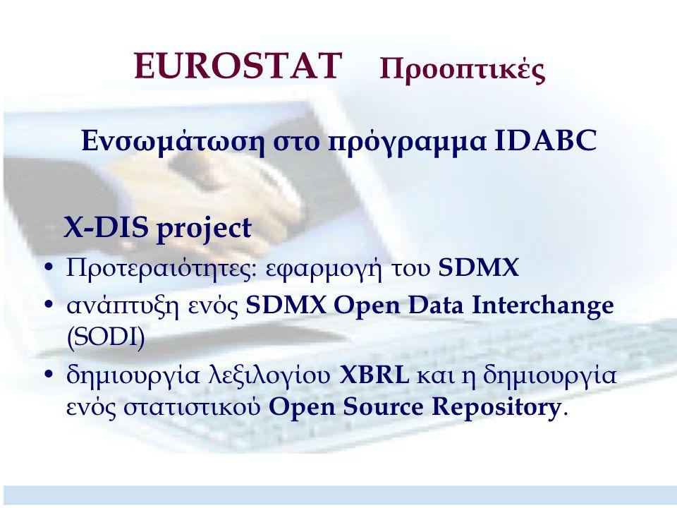 EUROSTAT Προοπτικές Ενσωμάτωση στο πρόγραμμα IDABC X-DIS project Προτεραιότητες: εφαρμογή του SDMX ανάπτυξη ενός SDMX Open Data Interchange (SODI) δημιουργία λεξιλογίου XBRL και η δημιουργία ενός στατιστικού Open Source Repository.