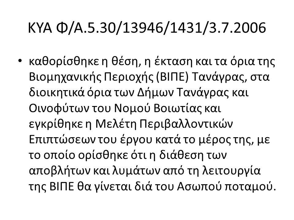 ΚΥΑ Φ/Α.5.30/13946/1431/3.7.2006 καθορίσθηκε η θέση, η έκταση και τα όρια της Βιομηχανικής Περιοχής (ΒΙΠΕ) Τανάγρας, στα διοικητικά όρια των Δήμων Τανάγρας και Οινοφύτων του Νομού Βοιωτίας και εγκρίθηκε η Μελέτη Περιβαλλοντικών Επιπτώσεων του έργου κατά το μέρος της, με το οποίο ορίσθηκε ότι η διάθεση των αποβλήτων και λυμάτων από τη λειτουργία της ΒΙΠΕ θα γίνεται διά του Ασωπού ποταμού.