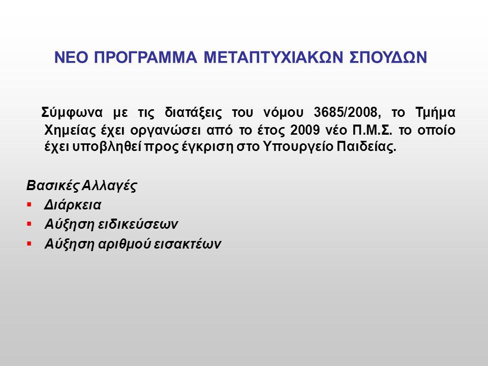 ΝΕΟ ΠΡΟΓΡΑΜΜΑ ΜΕΤΑΠΤΥΧΙΑΚΩΝ ΣΠΟΥΔΩΝ Σύμφωνα με τις διατάξεις του νόμου 3685/2008, το Τμήμα Χημείας έχει οργανώσει από το έτος 2009 νέο Π.Μ.Σ. το οποίο