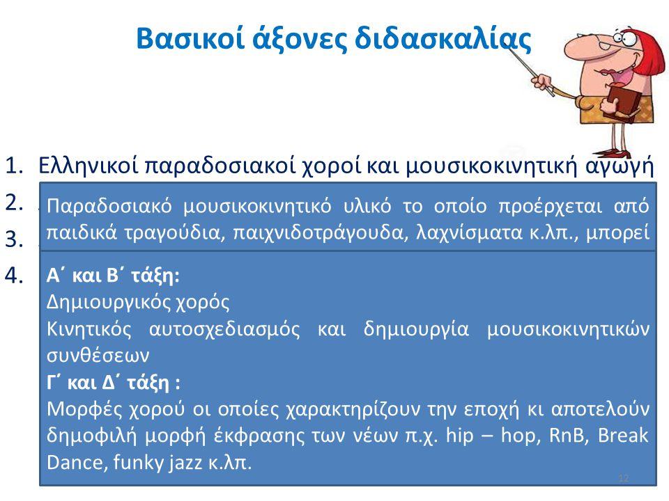 1.Ελληνικοί παραδοσιακοί χοροί και μουσικοκινητική αγωγή 2.Λαϊκοί χοροί και παιχνίδια από άλλες χώρες 3.Σύγχρονες μορφές χορευτικής έκφρασης 4.Προετοι
