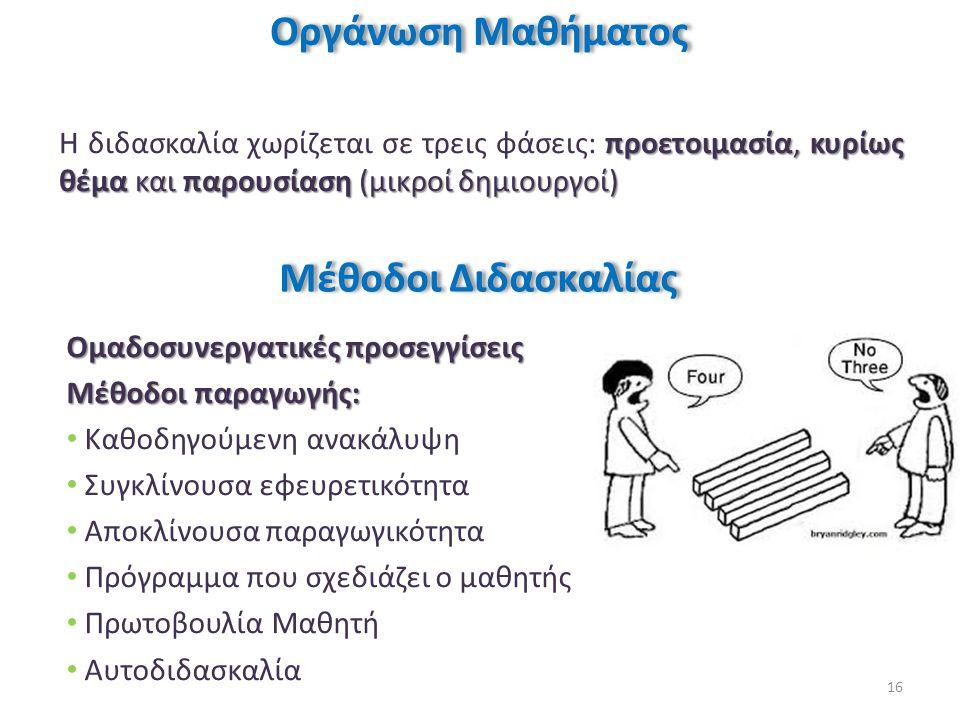 προετοιμασία, κυρίως θέμα και παρουσίαση (μικροί δημιουργοί) Η διδασκαλία χωρίζεται σε τρεις φάσεις: προετοιμασία, κυρίως θέμα και παρουσίαση (μικροί