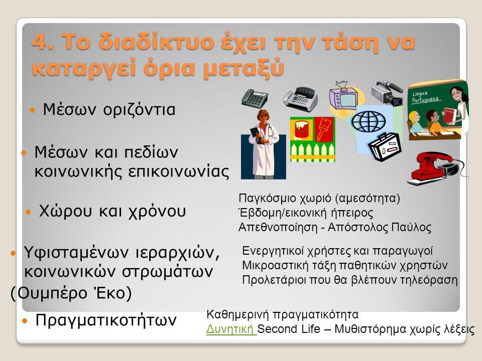 4. Το διαδίκτυο έχει την τάση να καταργεί όρια μεταξύ Μέσων οριζόντια Χώρου και χρόνου Μέσων και πεδίων κοινωνικής επικοινωνίας Παγκόσμιο χωριό (αμεσό