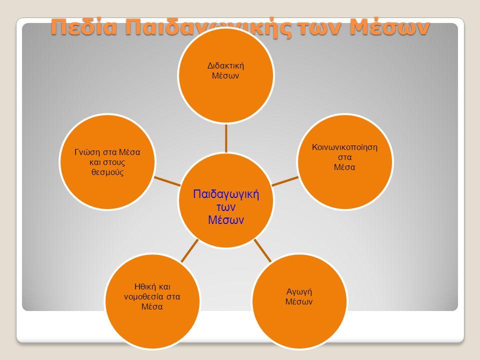 Πεδία Παιδαγωγικής των Μέσων Παιδαγωγική των Μέσων Διδακτική Μέσων Κοινωνικοποίηση στα Μέσα Αγωγή Μέσων Ηθική και νομοθεσία στα Μέσα Γνώση στα Μέσα και στους θεσμούς