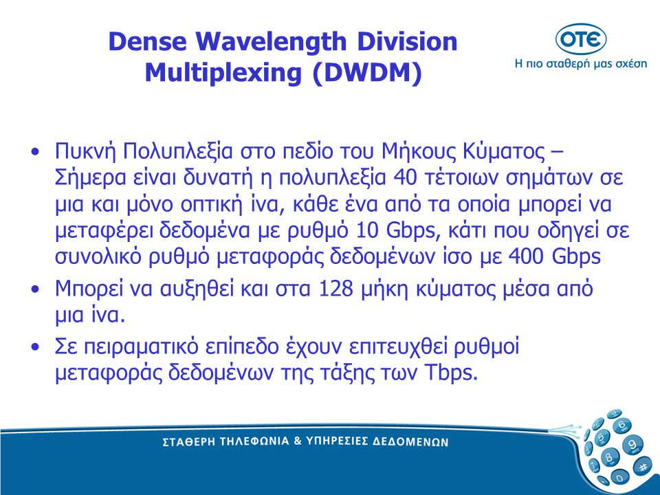 Dense Wavelength Division Multiplexing (DWDM) Πυκνή Πολυπλεξία στο πεδίο του Μήκους Κύµατος – Σήμερα είναι δυνατή η πολυπλεξία 40 τέτοιων σηµάτων σε µ