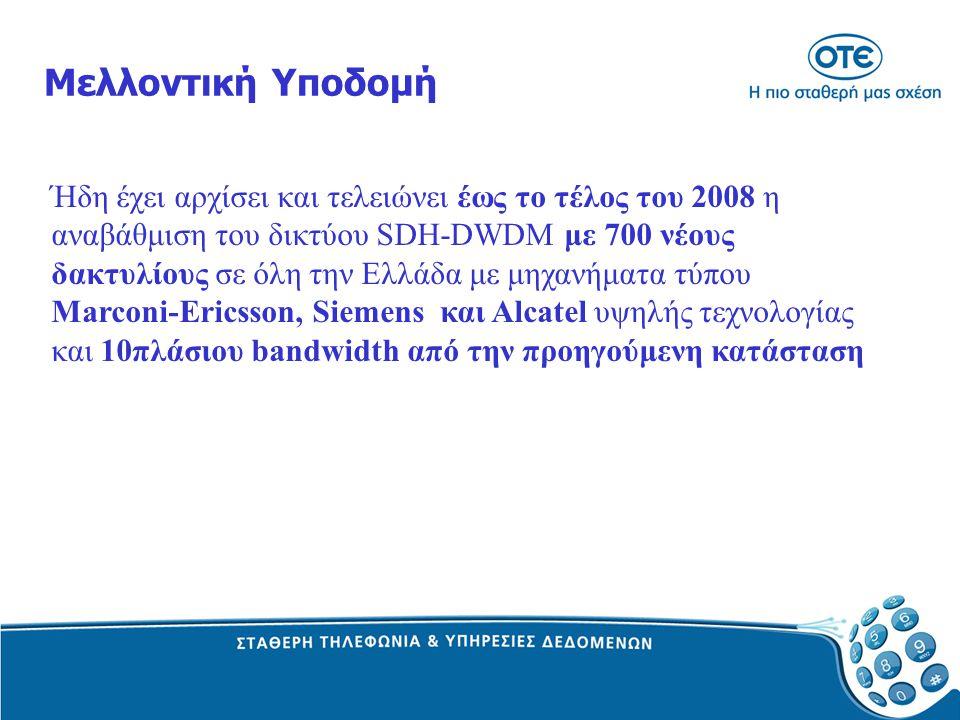 Μελλοντική Υποδομή Ήδη έχει αρχίσει και τελειώνει έως το τέλος του 2008 η αναβάθμιση του δικτύου SDH-DWDM με 700 νέους δακτυλίους σε όλη την Ελλάδα με