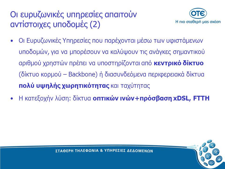 Οι ευρυζωνικές υπηρεσίες απαιτούν αντίστοιχες υποδομές (2) Οι Ευρυζωνικές Υπηρεσίες που παρέχονται μέσω των υφιστάμενων υποδομών, για να μπορέσουν να