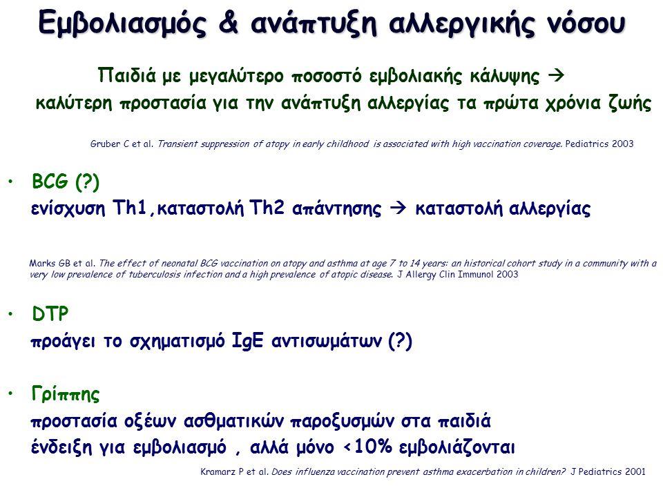 Εμβολιασμός & ανάπτυξη αλλεργικής νόσου Παιδιά με μεγαλύτερο ποσοστό εμβολιακής κάλυψης  καλύτερη προστασία για την ανάπτυξη αλλεργίας τα πρώτα χρόνια ζωής BCG (?) ενίσχυση Th1,καταστολή Th2 απάντησης  καταστολή αλλεργίας DTP προάγει το σχηματισμό IgE αντισωμάτων (?) Γρίππης προστασία οξέων ασθματικών παροξυσμών στα παιδιά ένδειξη για εμβολιασμό, αλλά μόνο <10% εμβολιάζονται Gruber C et al.
