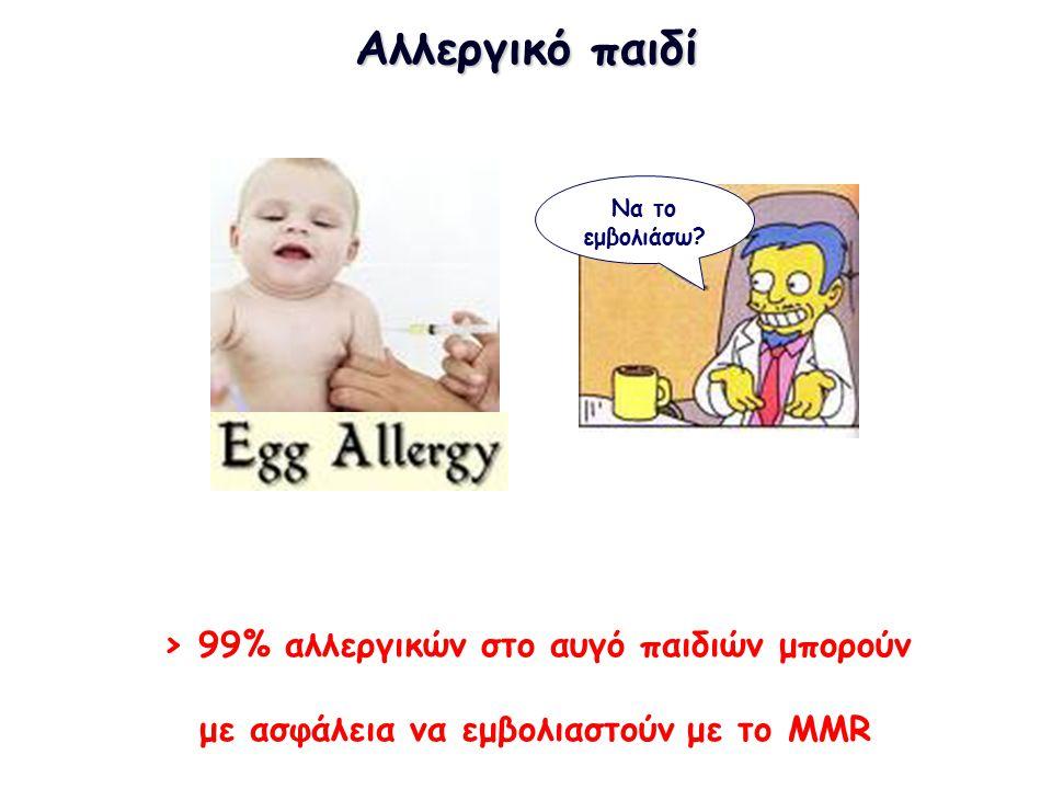 Αλλεργικό παιδί > 99% αλλεργικών στο αυγό παιδιών μπορούν με ασφάλεια να εμβολιαστούν με το MMR Να το εμβολιάσω?