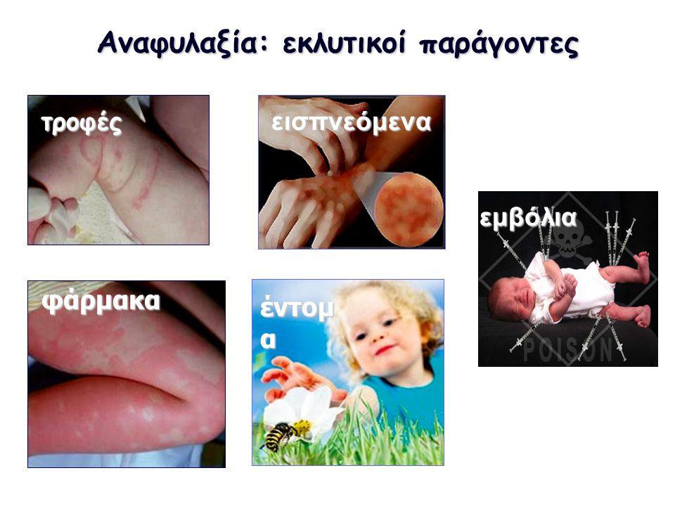 Αναφυλαξία: εκλυτικοί παράγοντες τροφέςεισπνεόμενα φάρμακα έντομ α εμβόλια