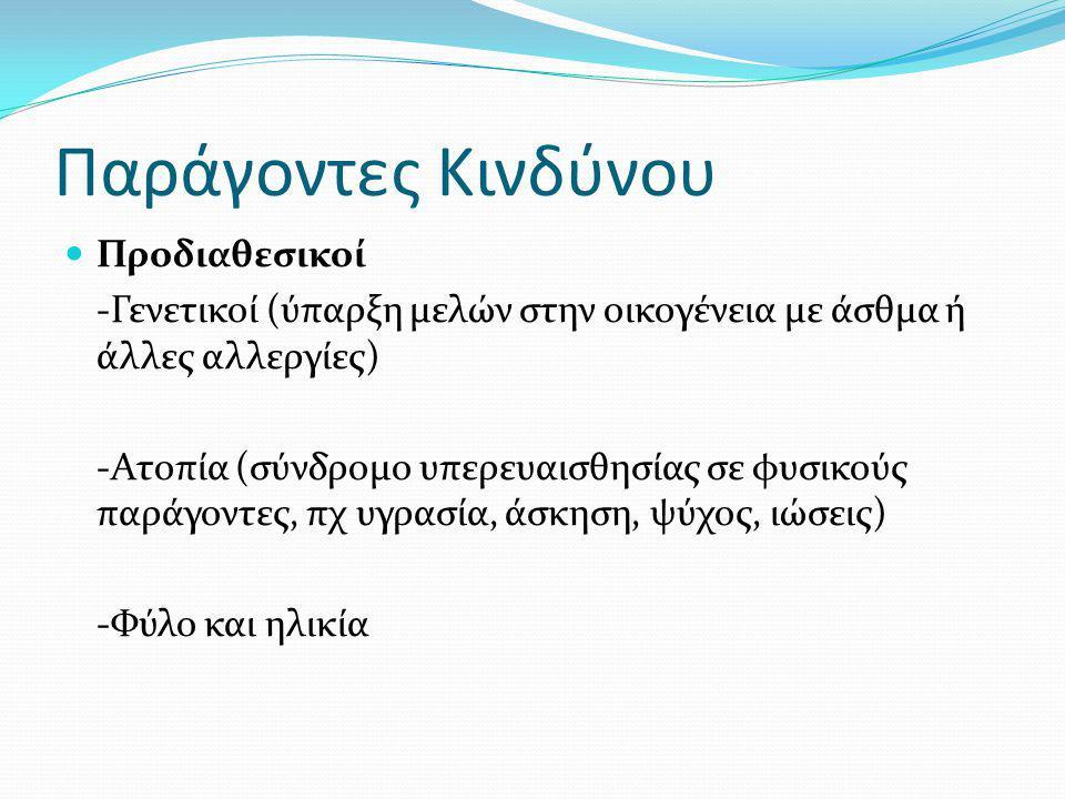Παράγοντες Κινδύνου Προδιαθεσικοί -Γενετικοί (ύπαρξη μελών στην οικογένεια με άσθμα ή άλλες αλλεργίες) -Ατοπία (σύνδρομο υπερευαισθησίας σε φυσικούς παράγοντες, πχ υγρασία, άσκηση, ψύχος, ιώσεις) -Φύλο και ηλικία