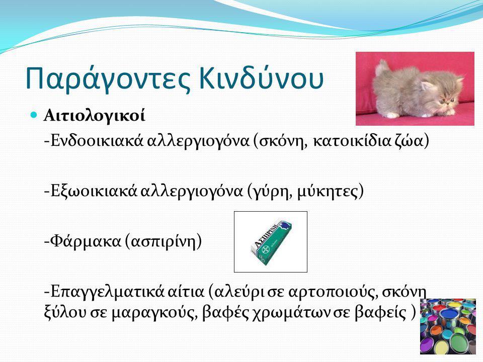 Παράγοντες Κινδύνου Αιτιολογικοί -Ενδοοικιακά αλλεργιογόνα (σκόνη, κατοικίδια ζώα) -Εξωοικιακά αλλεργιογόνα (γύρη, μύκητες) -Φάρμακα (ασπιρίνη) -Επαγγελματικά αίτια (αλεύρι σε αρτοποιούς, σκόνη ξύλου σε μαραγκούς, βαφές χρωμάτων σε βαφείς )