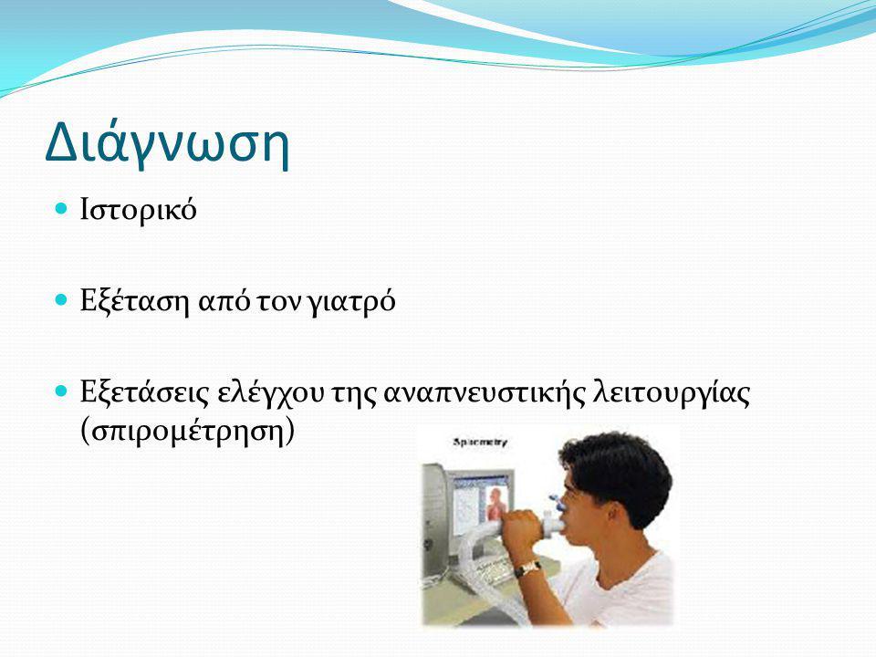 Διάγνωση Ιστορικό Εξέταση από τον γιατρό Εξετάσεις ελέγχου της αναπνευστικής λειτουργίας (σπιρομέτρηση)