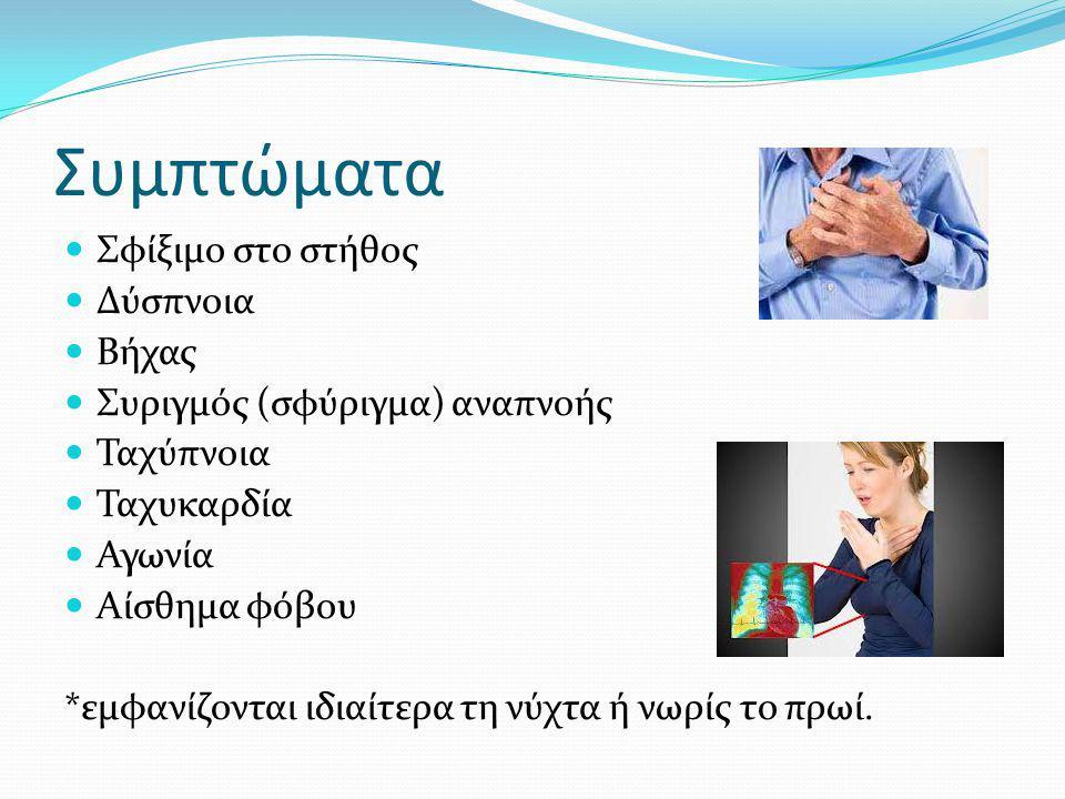 Συμπτώματα Σφίξιμο στο στήθος Δύσπνοια Βήχας Συριγμός (σφύριγμα) αναπνοής Ταχύπνοια Ταχυκαρδία Αγωνία Αίσθημα φόβου *εμφανίζονται ιδιαίτερα τη νύχτα ή νωρίς το πρωί.