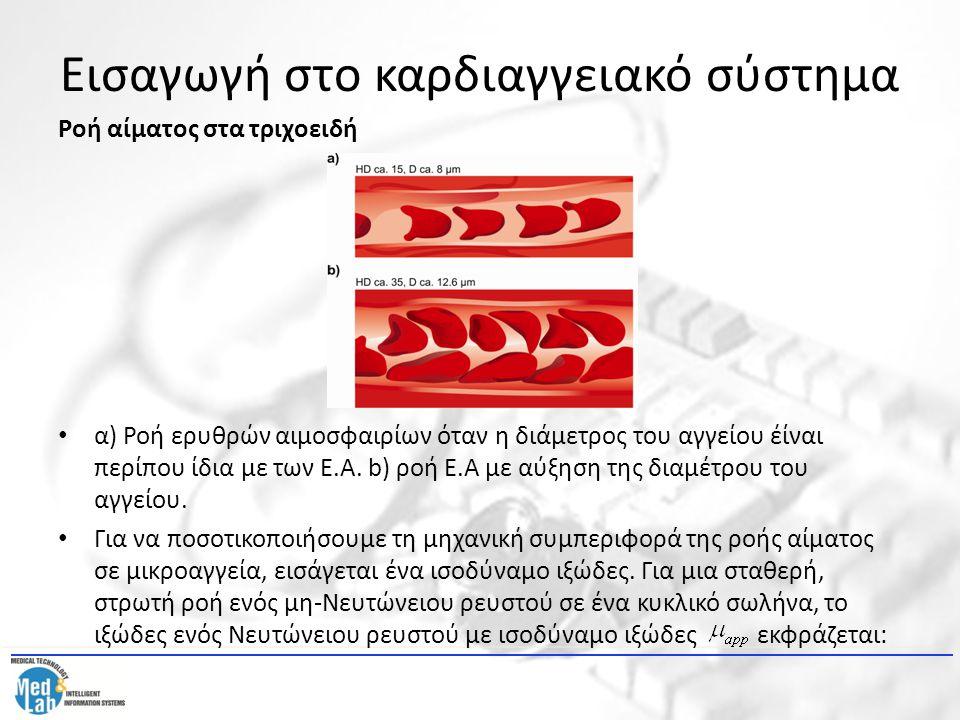 Εισαγωγή στο καρδιαγγειακό σύστημα Ροή αίματος στα τριχοειδή α) Ροή ερυθρών αιμοσφαιρίων όταν η διάμετρος του αγγείου έίναι περίπου ίδια με των Ε.Α. b