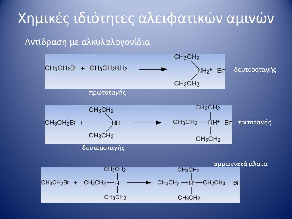 Χημικές ιδιότητες αλειφατικών αμινών Σχηματισμός αμιδίων Ακυλαλογονίδια ή ανυδρίτες οξέων