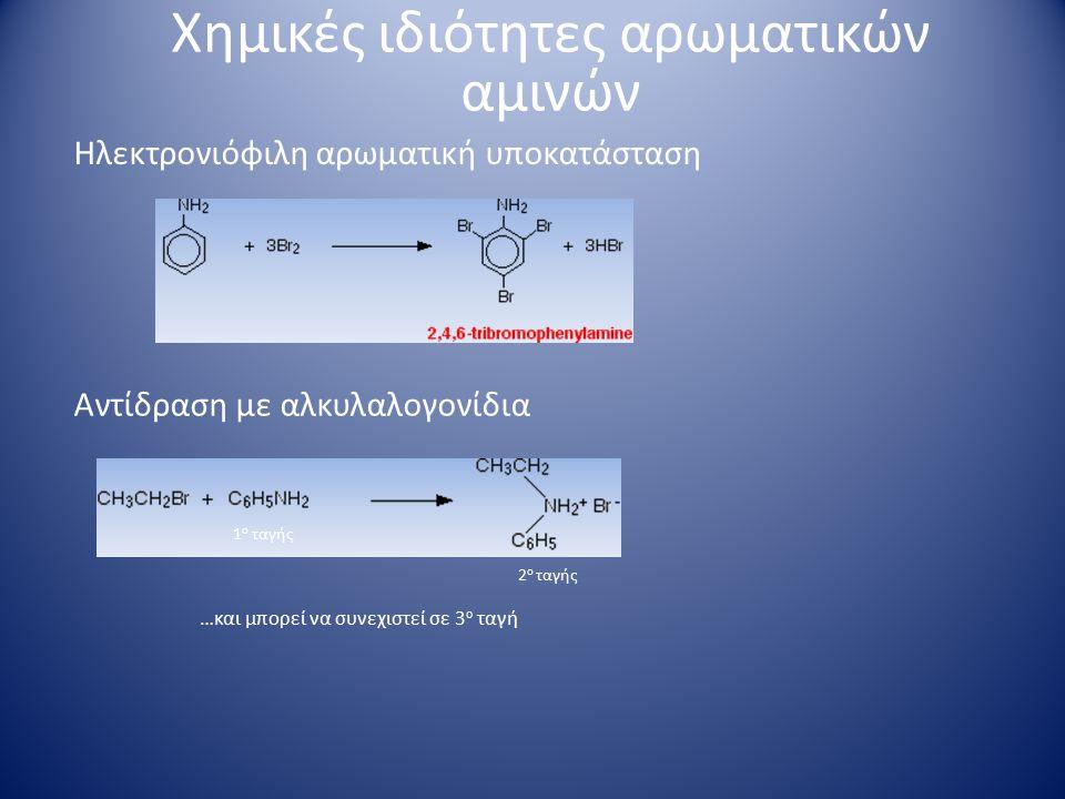 Σχηματισμός διαζωνιακών αλάτων NaNO 2 και HCl Χημικές ιδιότητες αρωματικών αμινών διαζώτωση