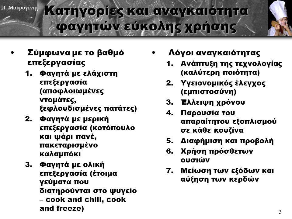 Π. Μαυρογένης 3 Κατηγορίες και αναγκαιότητα φαγητών εύκολης χρήσης Σύμφωνα με το βαθμό επεξεργασίας 1.Φαγητά με ελάχιστη επεξεργασία (αποφλοιωμένες ντ