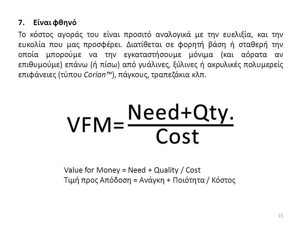7.Είναι φθηνό Το κόστος αγοράς του είναι προσιτό αναλογικά με την ευελιξία, και την ευκολία που μας προσφέρει.