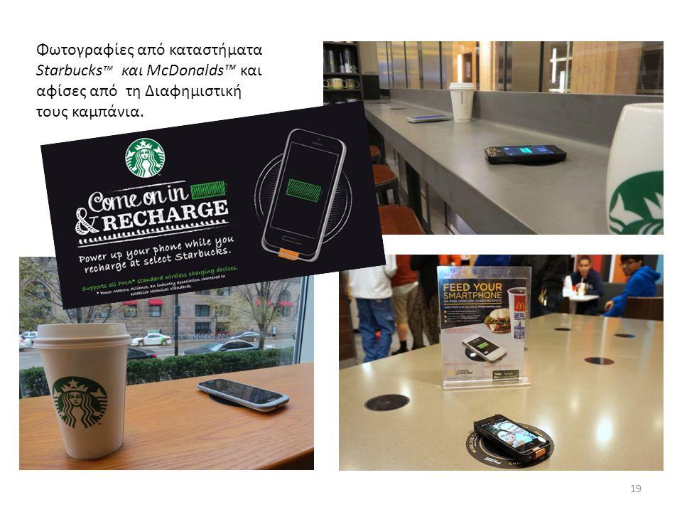 Φωτογραφίες από καταστήματα Starbucks ™ και McDonalds™ και αφίσες από τη Διαφημιστική τους καμπάνια.