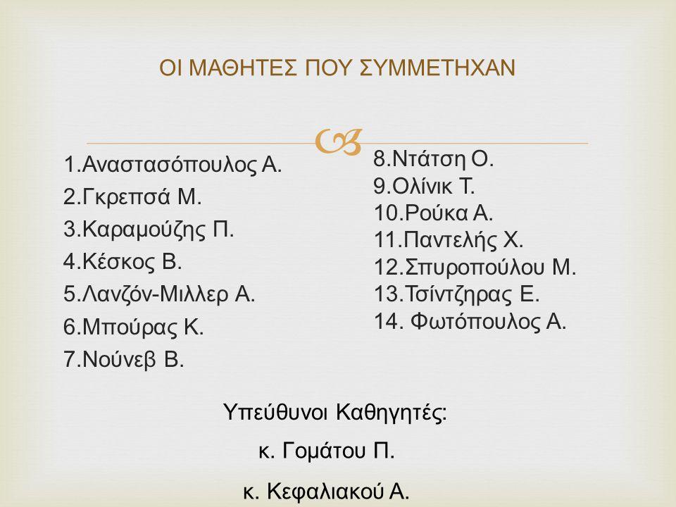  ΟΙ ΜΑΘΗΤΕΣ ΠΟΥ ΣΥΜΜΕΤΗΧΑΝ 1.Αναστασόπουλος Α. 2.Γκρεπσά Μ. 3.Καραμούζης Π. 4.Κέσκος Β. 5.Λανζόν-Μιλλερ Α. 6.Μπούρας Κ. 7.Νούνεβ Β. 8.Ντάτση Ο. 9.Ολί