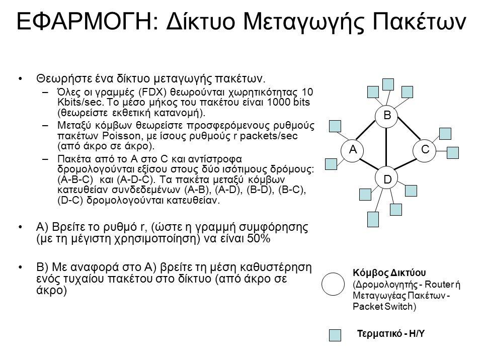 ΕΦΑΡΜΟΓΗ: Δίκτυο Μεταγωγής Πακέτων Θεωρήστε ένα δίκτυο μεταγωγής πακέτων.