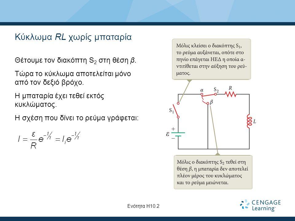 Κύκλωμα RL χωρίς μπαταρία Θέτουμε τον διακόπτη S 2 στη θέση β.
