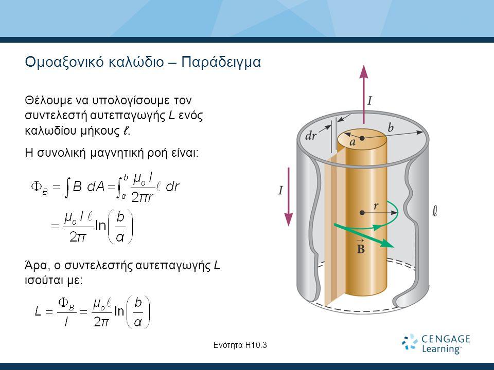 Ομοαξονικό καλώδιο – Παράδειγμα Θέλουμε να υπολογίσουμε τον συντελεστή αυτεπαγωγής L ενός καλωδίου μήκους ℓ.