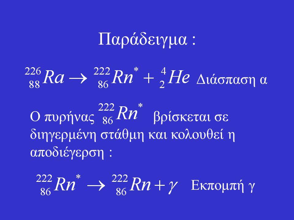 Διάσπαση γ Οι ακτίνες γ είναι φωτόνια πολύ υψηλής συχνότητας τα οποία εκπέμπονται όταν ένας πυρήνας μεταπίπτει από διηγερμένη ενεργειακή στάθμη σε άλλ