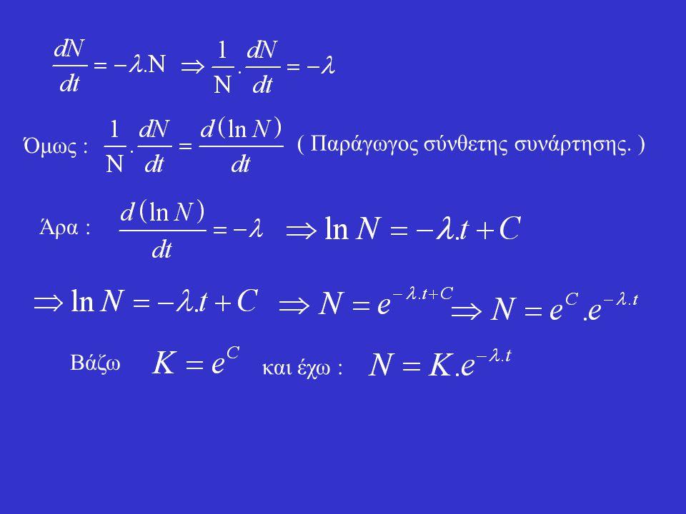 Έστω ότι έχουμε Ν αδιάσπαστους πυρήνες. Η πιθανότητα να διασπαστεί ένας πυρήνας σε χρόνο dt είναι P. Η πιθανότητα P είναι ανάλογη του χρόνου dt και εξ