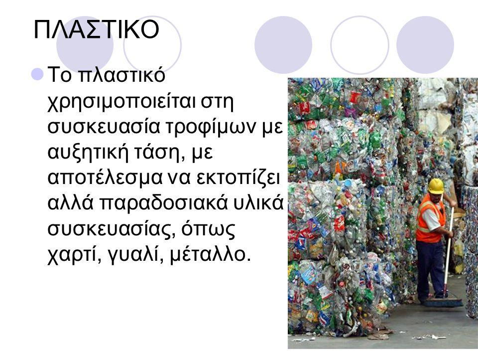 ΠΛΑΣΤΙΚΟ Το πλαστικό χρησιμοποιείται στη συσκευασία τροφίμων με αυξητική τάση, με αποτέλεσμα να εκτοπίζει αλλά παραδοσιακά υλικά συσκευασίας, όπως χαρτί, γυαλί, μέταλλο.